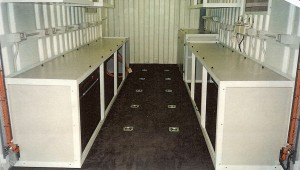 20ft Container fitted with cupboards and kitchen items.