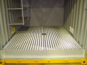 10ft Chemical container fitted with shelving and chequered plate floor and whirlybird.